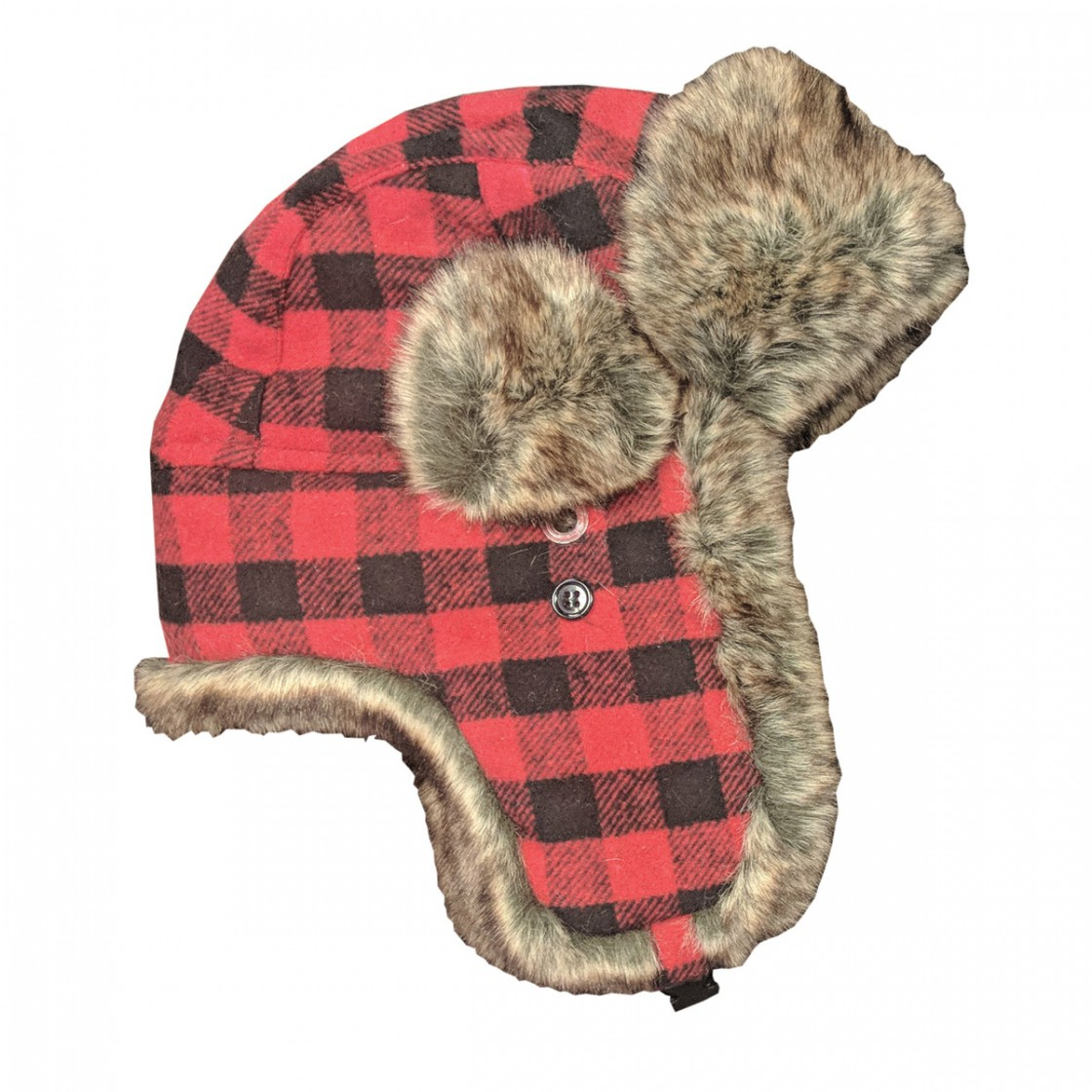 Fur Trapper Cap Red Plaid