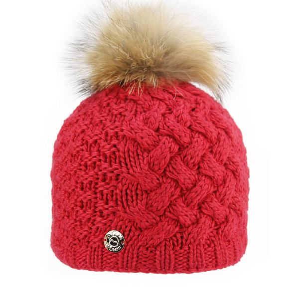 Cross Knit Hat Raccoon Fur Pom