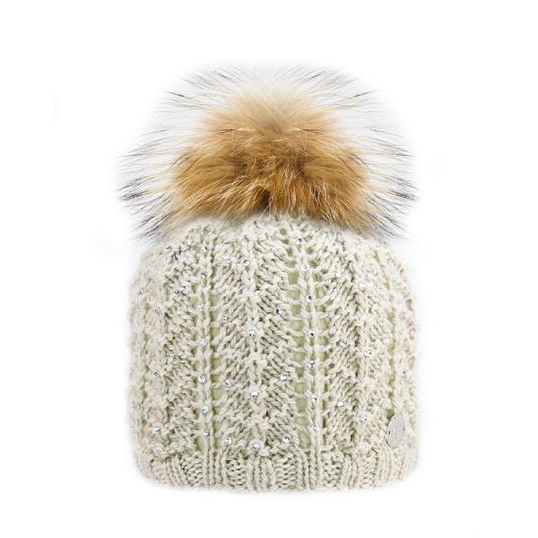 Jewel Design Raccoon Fur Pom