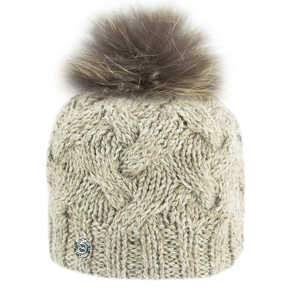Raccoon Fur Pompom Hat